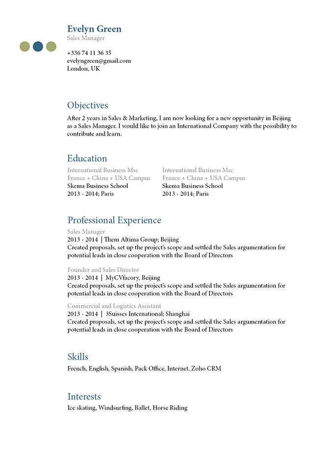 This CV template will help you create the perfect resume with the perfect format