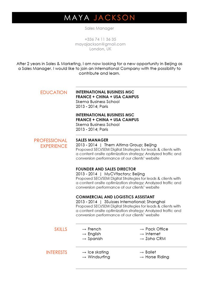 The CV format found in this template will greatly help you in landing that dream job!