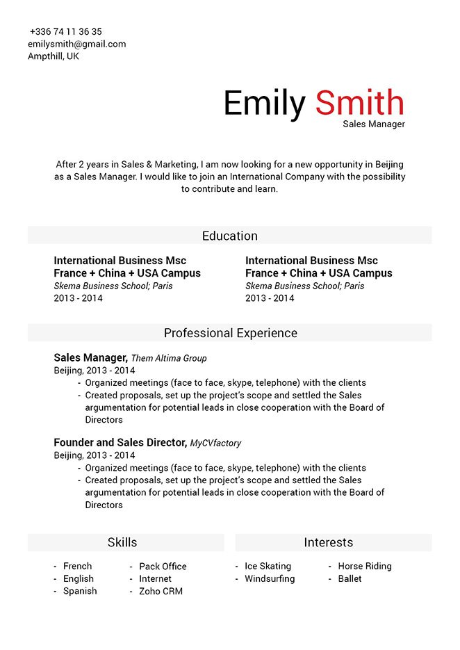 Create the perfect resume with this professional CV format