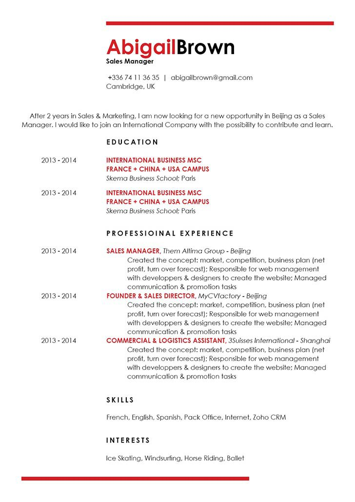 The format in this resume template makes for a great resume for modern professionals