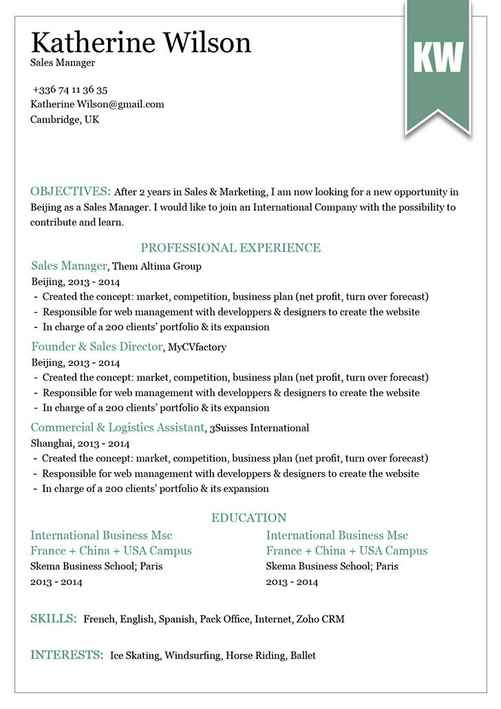 A professional resume with a professional format for all job types