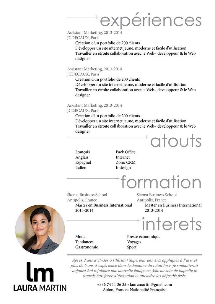 Exemple de CV attirant d'emblée l'attention par ses titres et sa présentation.