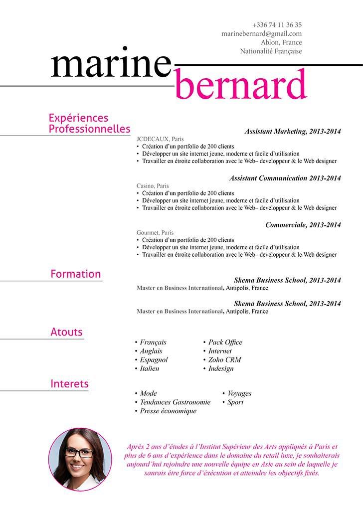 Un CV répartissant clairement ses informations dans une mise en page bien étudiée.