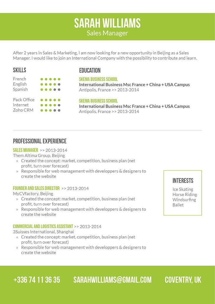 Simple Resume Format| Kind Resume · myCVfactory
