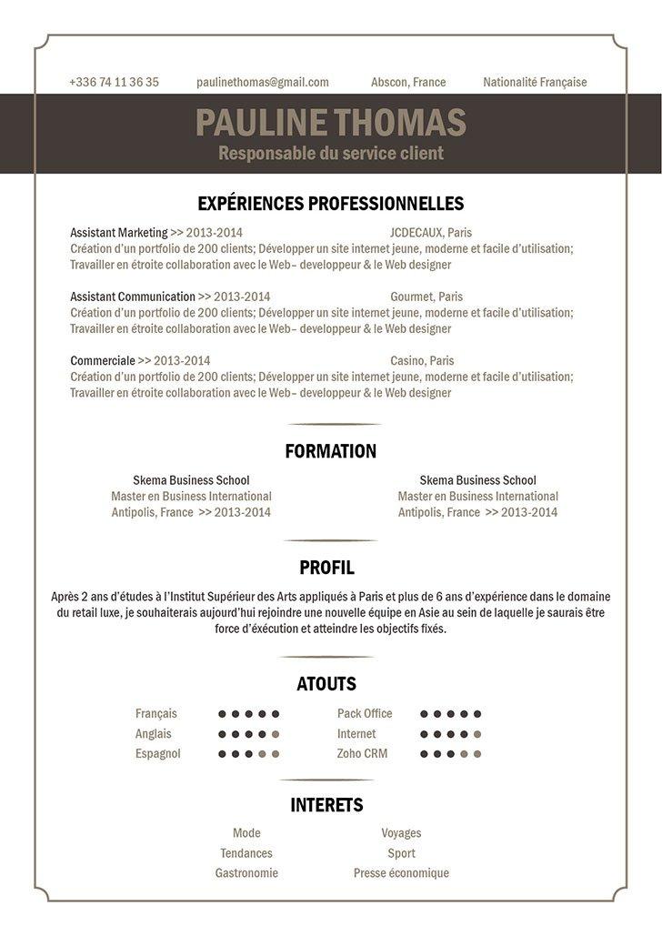 Un exemple de CV persuasif car audacieux, original, sérieux et élégant.