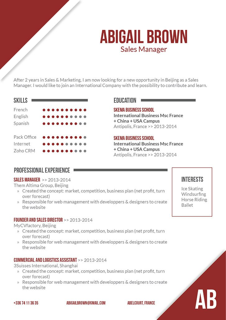 The best resme format we have to bring out the all the important parts of your resume