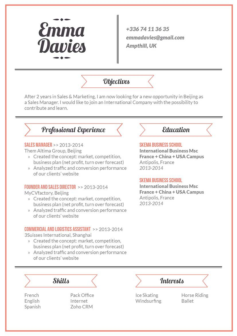 A simple resume, with an effective format made to get you that dream job!