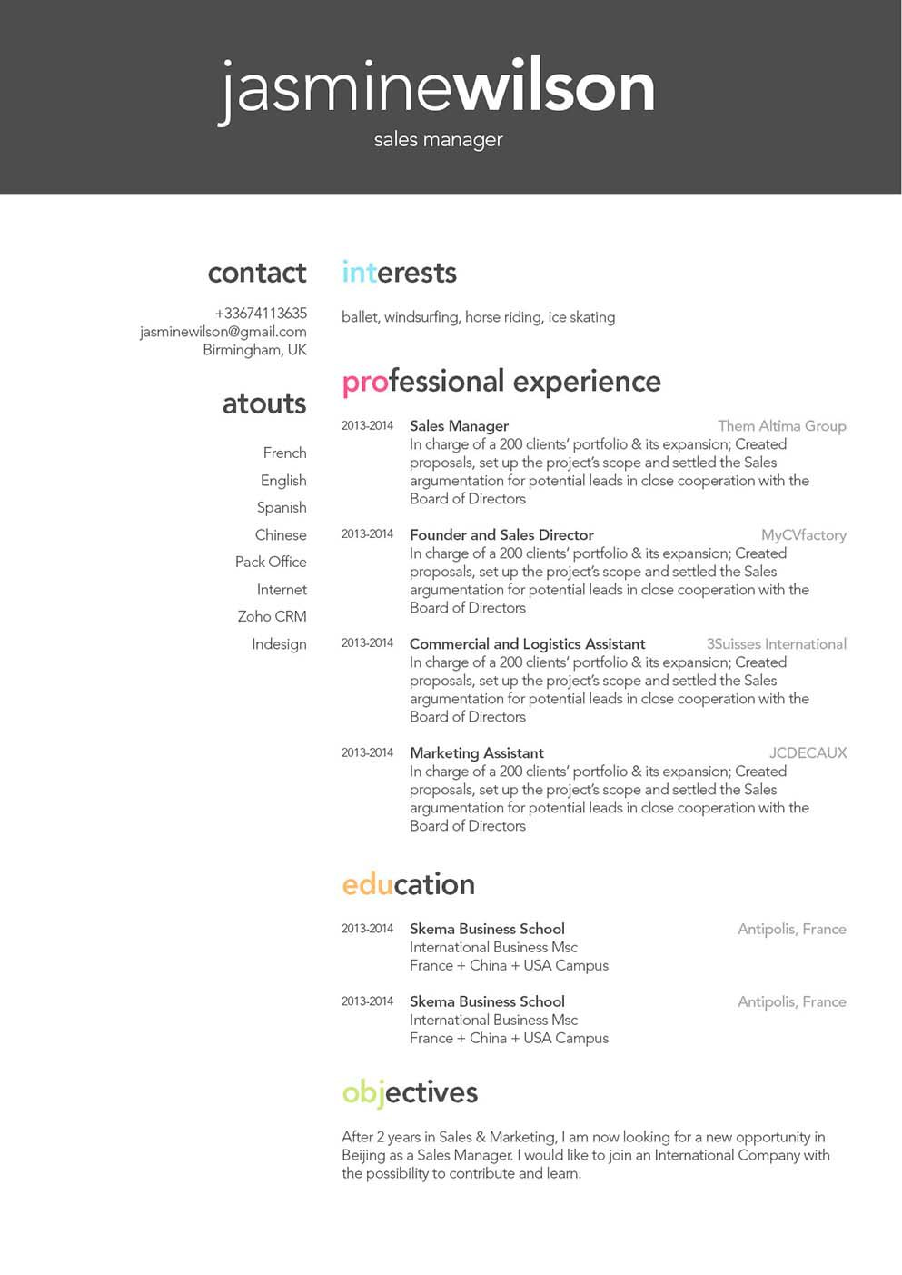 A student resume with a professional format made for all job types