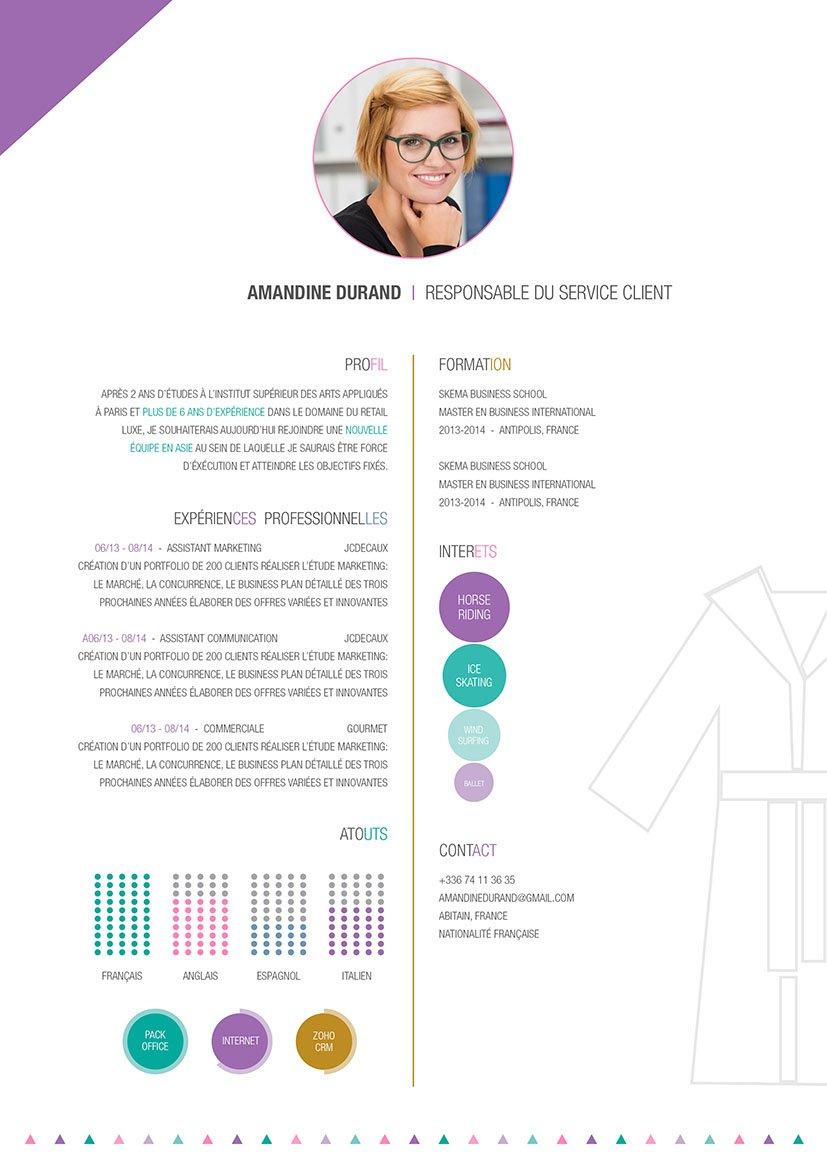 Modèle de CV sortant du lot car relatif avec le monde de la mode.