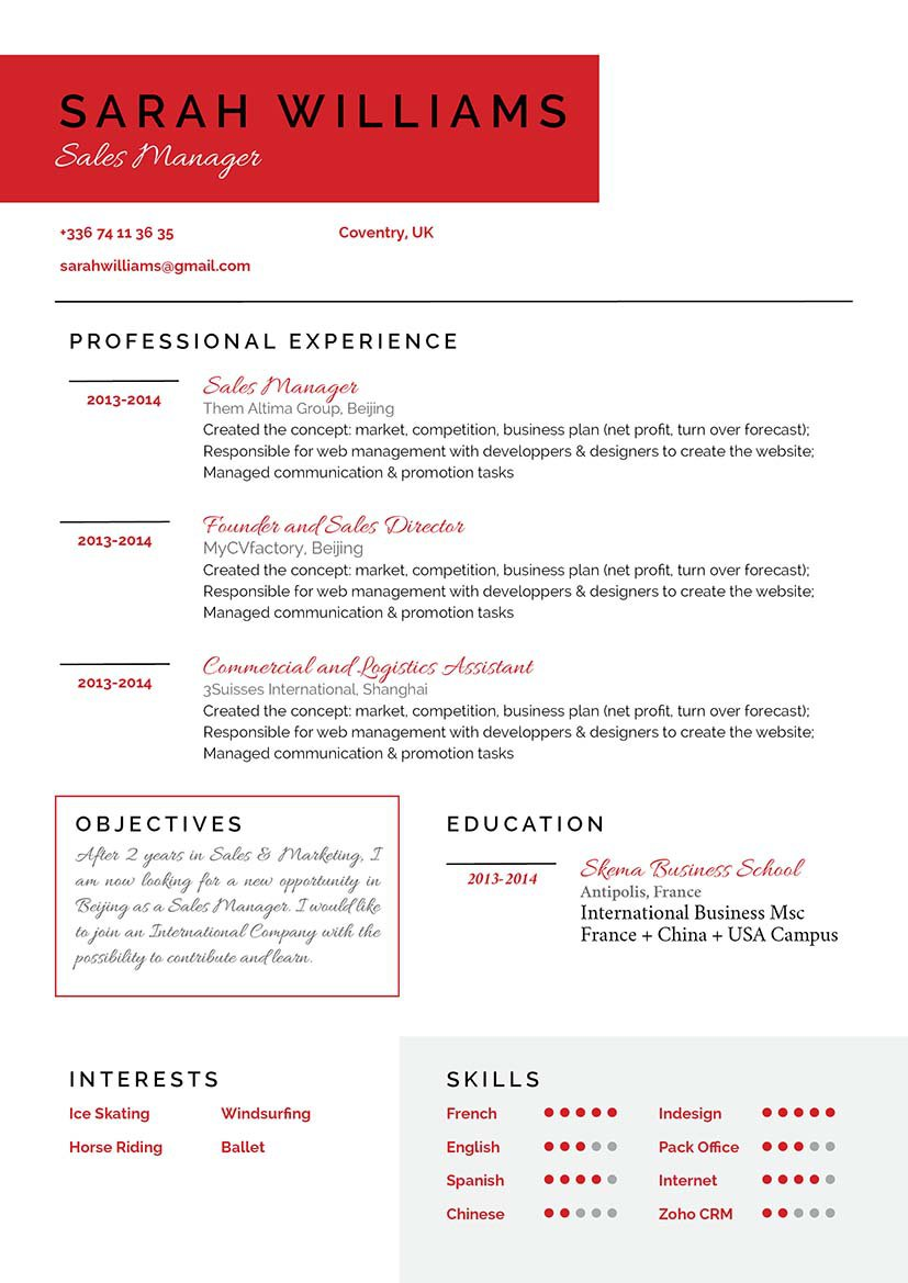 A clean work resume with a great professional format!