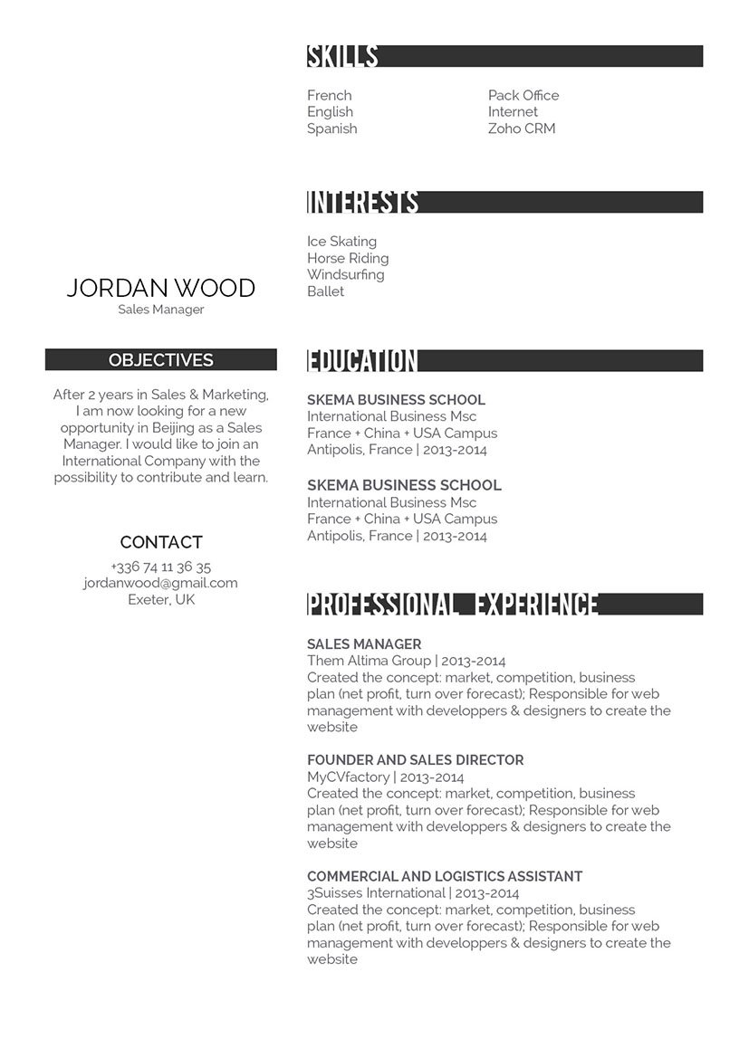 A clean design choice and format makes this professional resume sample perfect