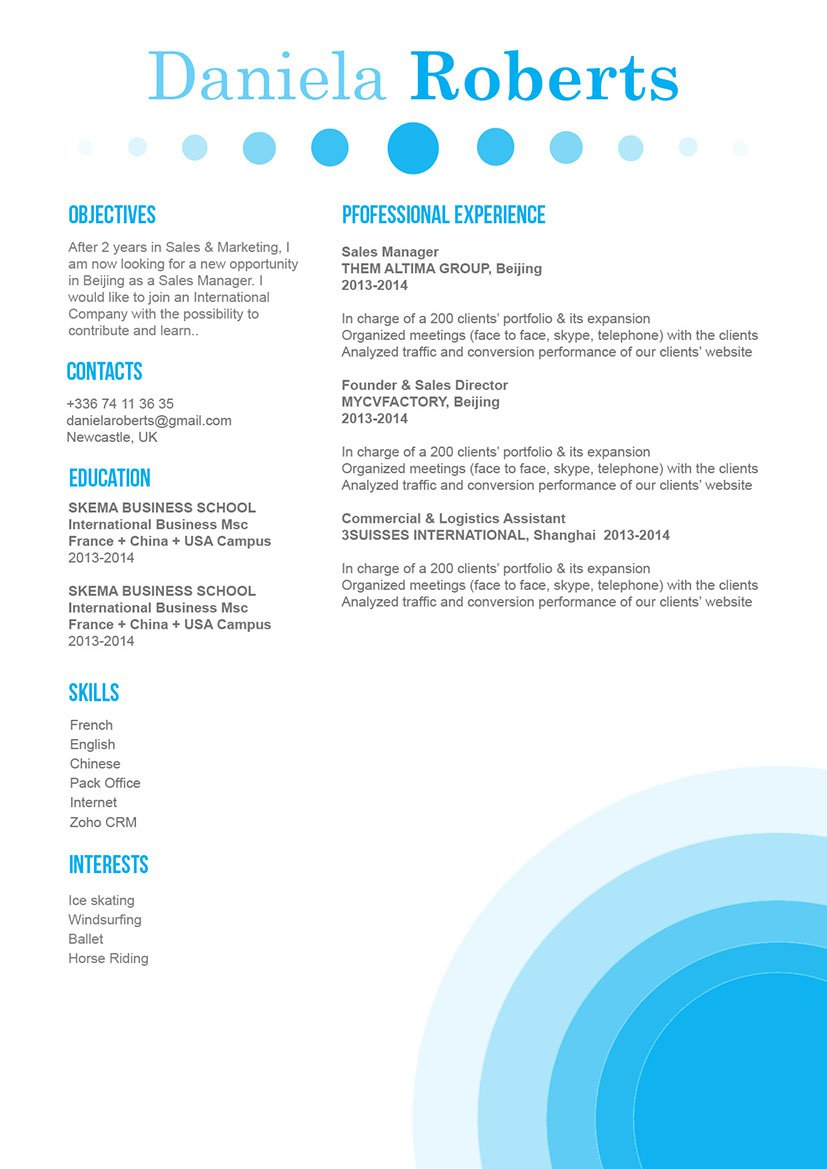 A clear and clean resume format for a resume template made for the modern work age!