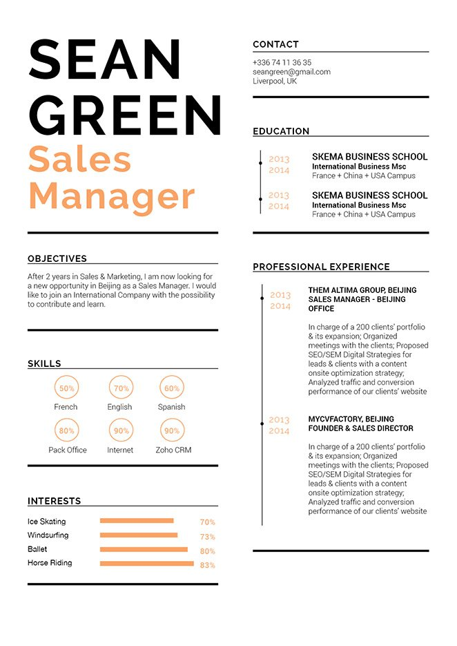 This resume template has a clean format effective in getting you that interview!