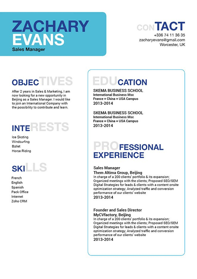 All the essential information is made readily avaialble with this simple resume format