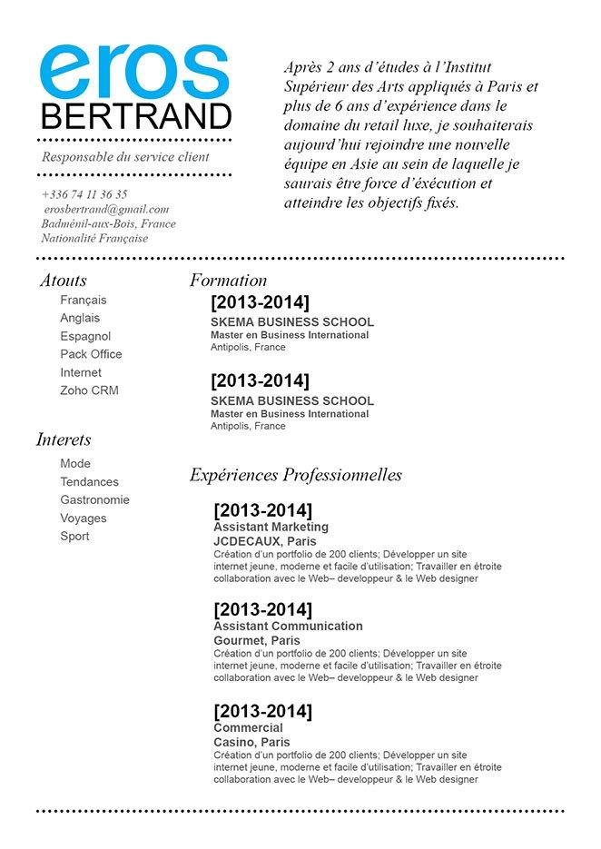 Un modèle de CV agréable à lire grâce à sa simplicité, concision et clarté.