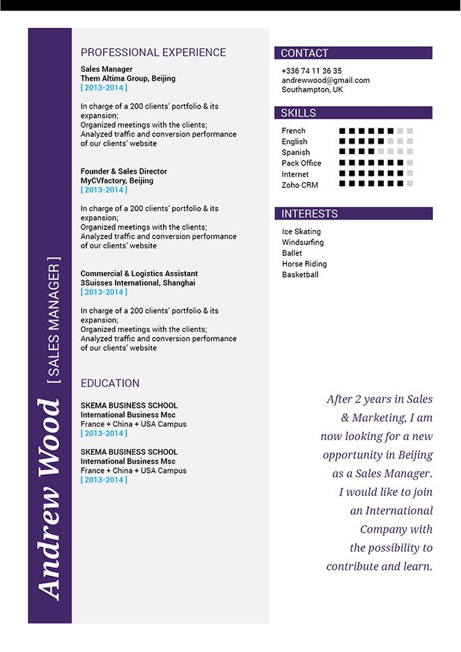 A great format is present in this professional CV -- A sure winner in any recruiter's book!