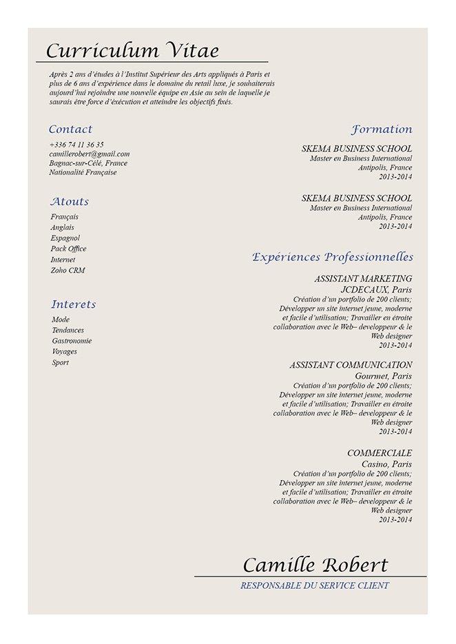CV idéal au candidat voulant travailler dans le secteur de l'hôtellerie.