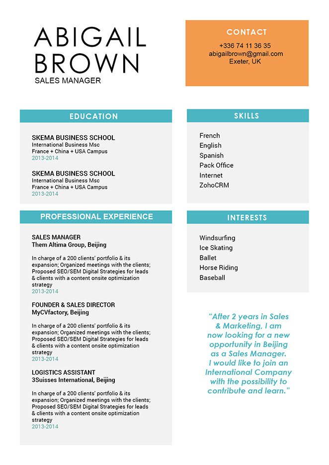 A simple resume format that provides your reader with the essnetial bits of information!