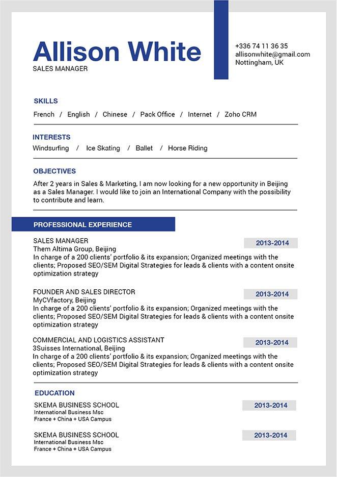 Best Sample Resume Classico Resume Mycvfactory