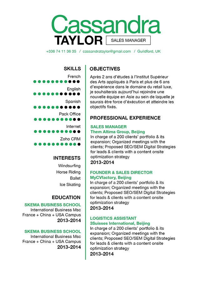 This simple resume template has a straight forward and concise design that is made to impress!