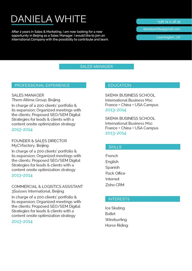 Use this creative eformat to make a good resume!