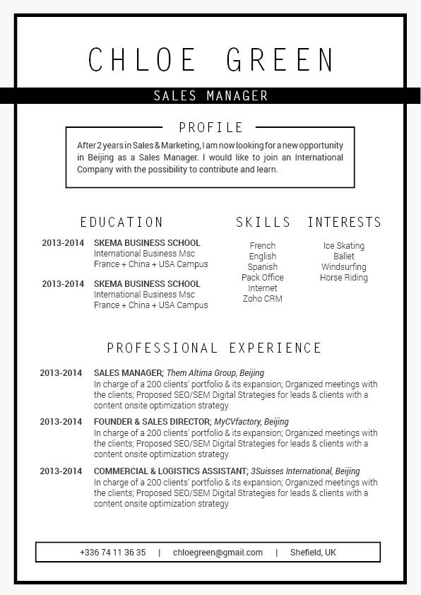 Lay out and format and perfect in this template -- create that professional CV now!