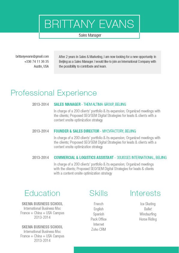 Format and layout is just perfect -- the right template to create a professional resume
