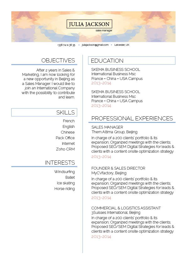 This is one template perfect to create a format of a good resume!