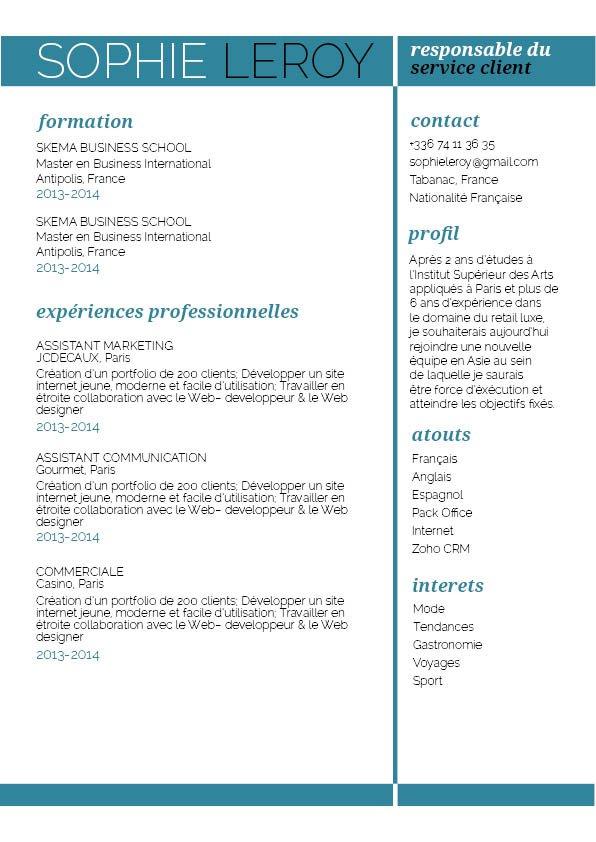 CV créatif et aéré permettant d'accéder facilement aux informations essentielles du candidat.