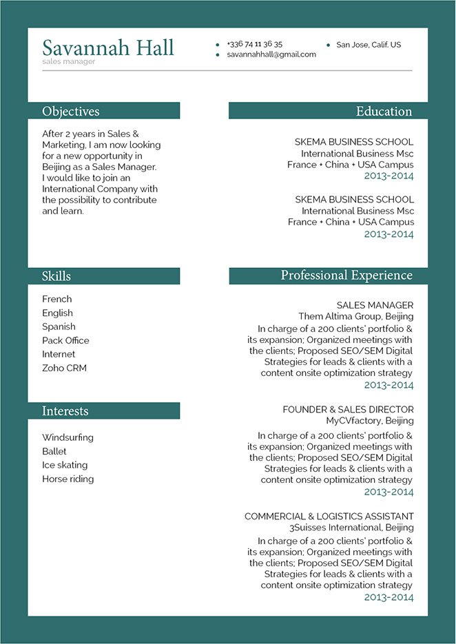This is one of the best sample resumes that has it's format catters to highight all your skills!