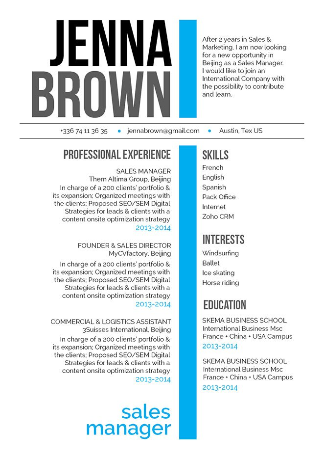 The unique design compliments the simple resume format excellently!