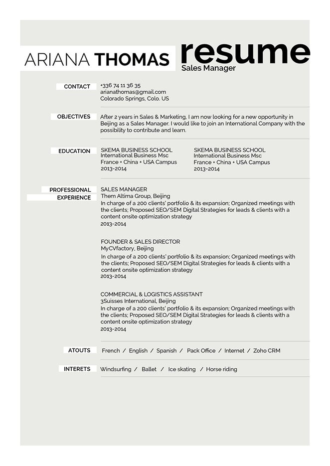 This simple resume format has a clear and clean design made for all job types,