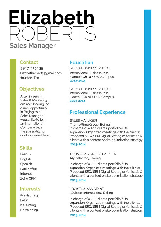 All important details are clearly written in this great resume template