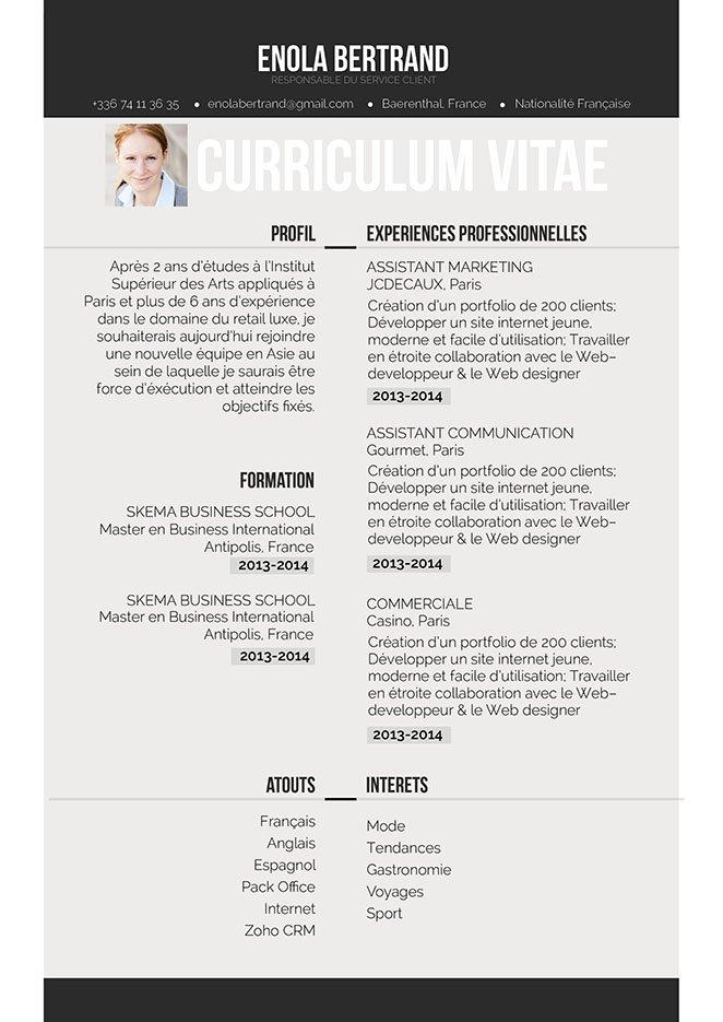 Un CV disposant d'une mise en page simple, d'un contenu réparti sur 2 colonnes et d'un haut et bas de page valorisés par une bande noire