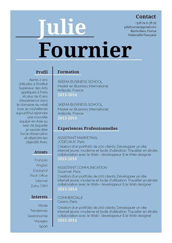 Un curriculum vitae divisant dans deux colonnes et mettant en avant avec des grands titres, souligner et colorer les informations importantes.
