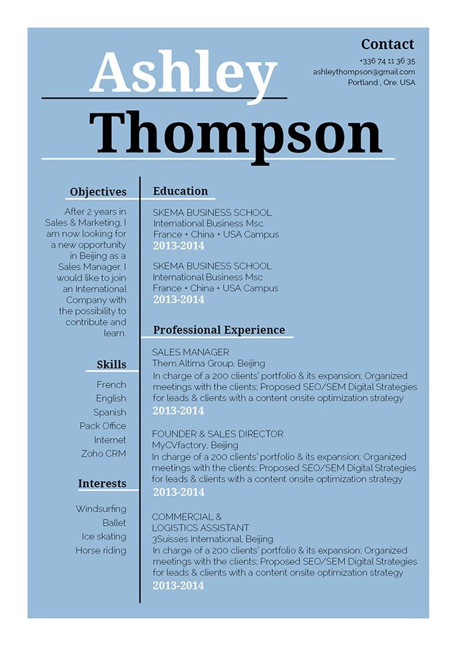 Create a functional CV with this modern resume template
