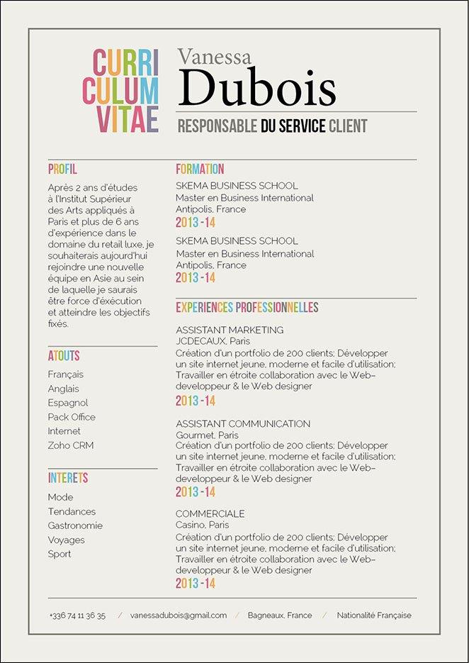 Un exemple de CV où les intitulés sont de plusieurs couleurs ou en grand caractères et le reste, répartis dans deux colonnes