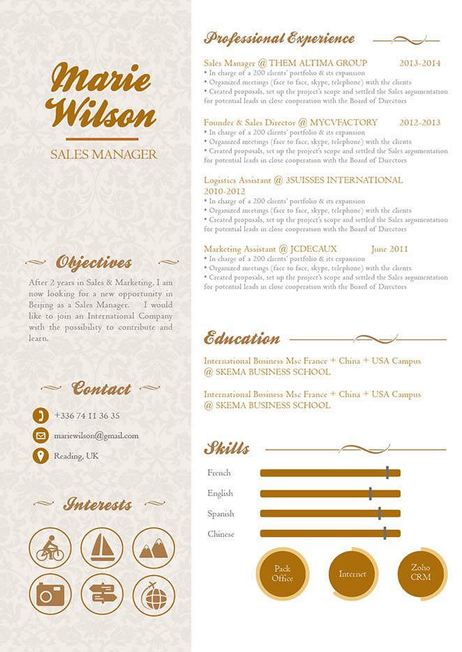 All the sections written in this professional resume template is perfectly tailored for the modern job seeker
