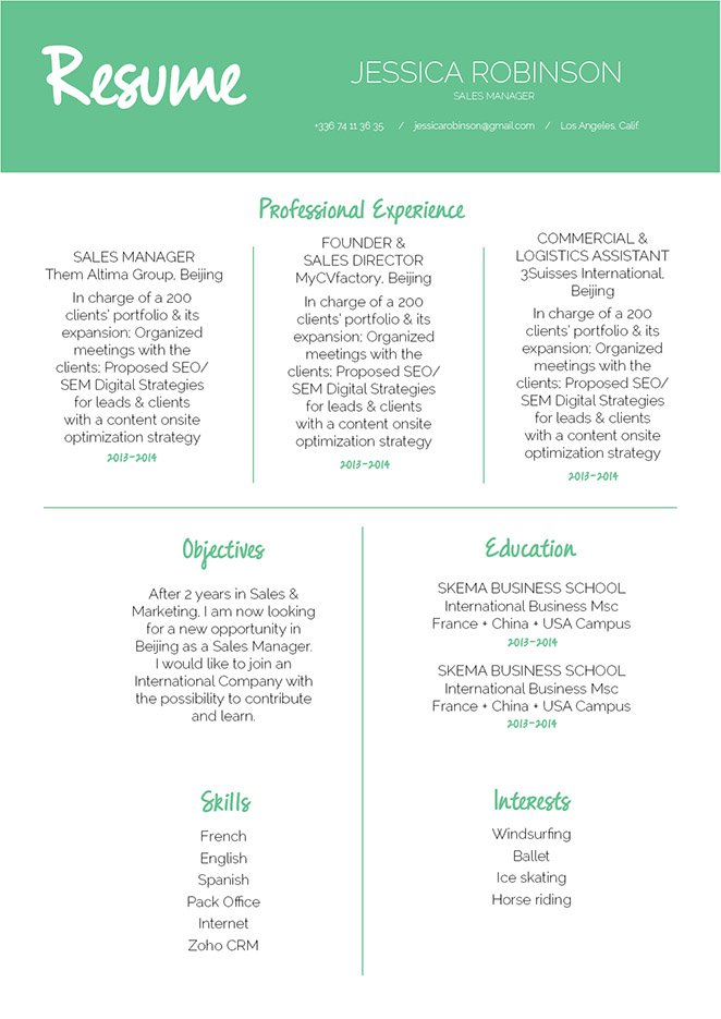 The lay out in this best resume format is sure to help you make a great CV!