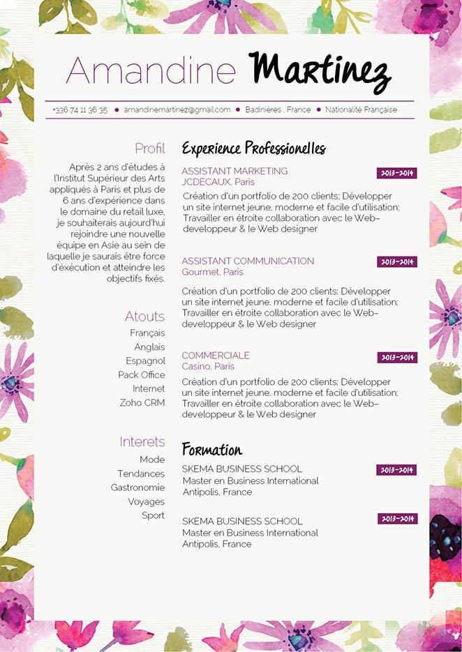cv fleuriste gratuit
