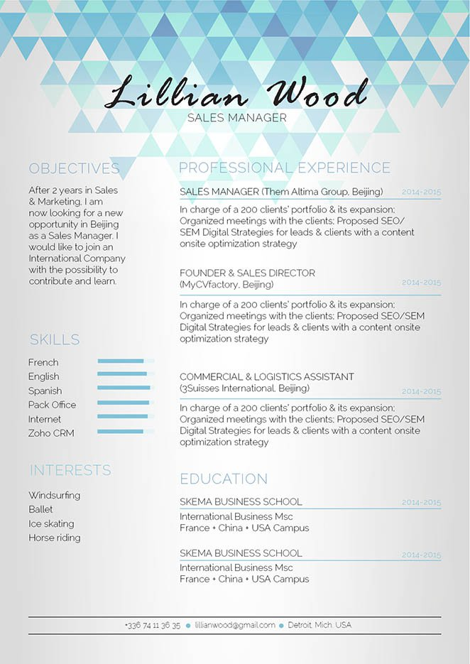 A modern resume template that provides your reader with the essnetial bits of information!