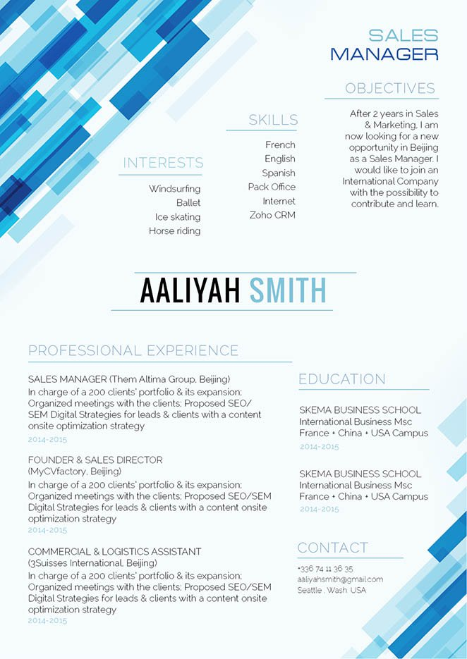 The format used in this modern resume template makes it one of the best samples resumes we have!