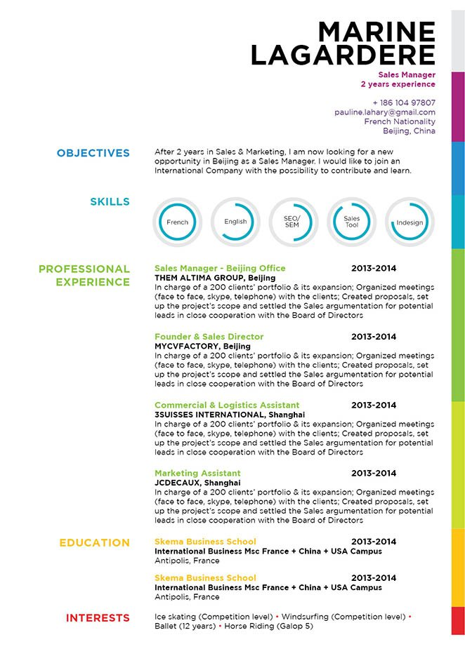 Format and design make this a good resume template for any job type
