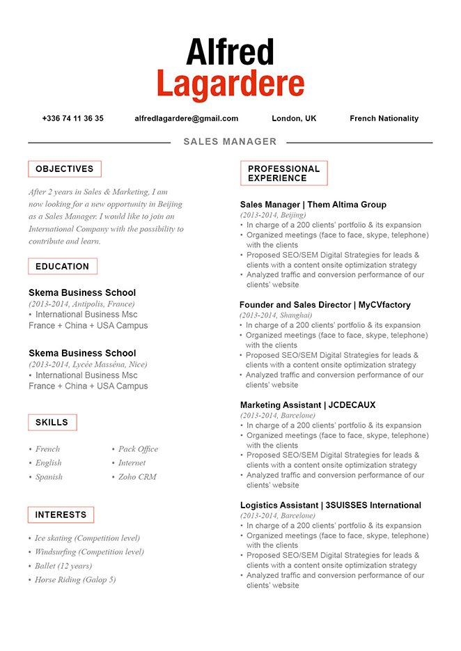 All you need in a great resume can be seen in this CV format