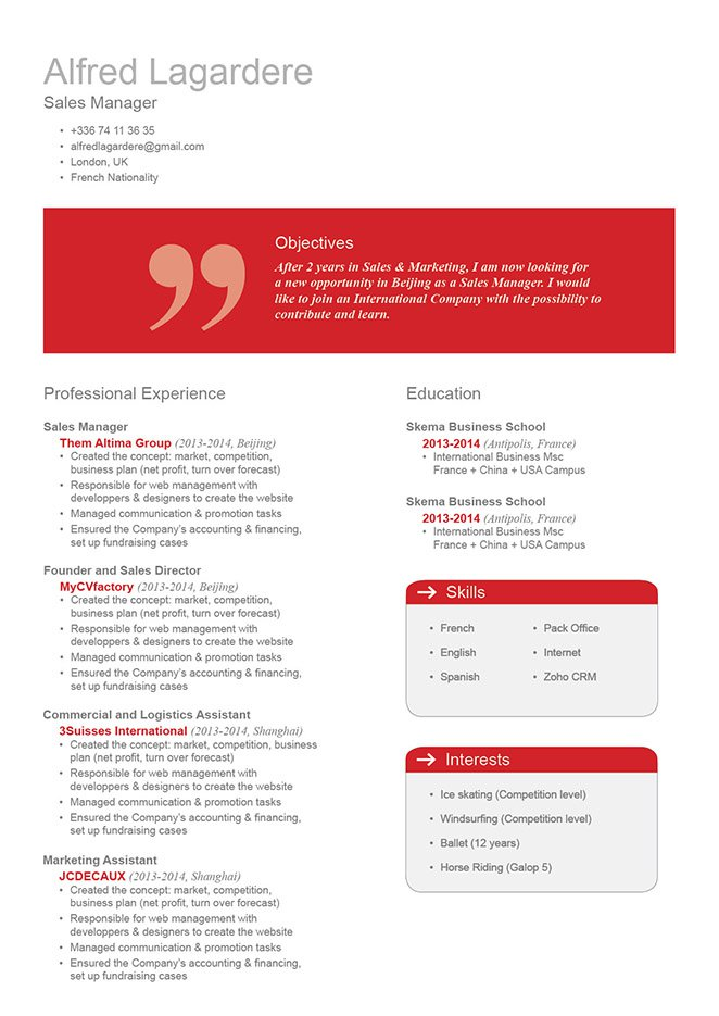 Give your recruiter an impressive professiona resume template with this CV format