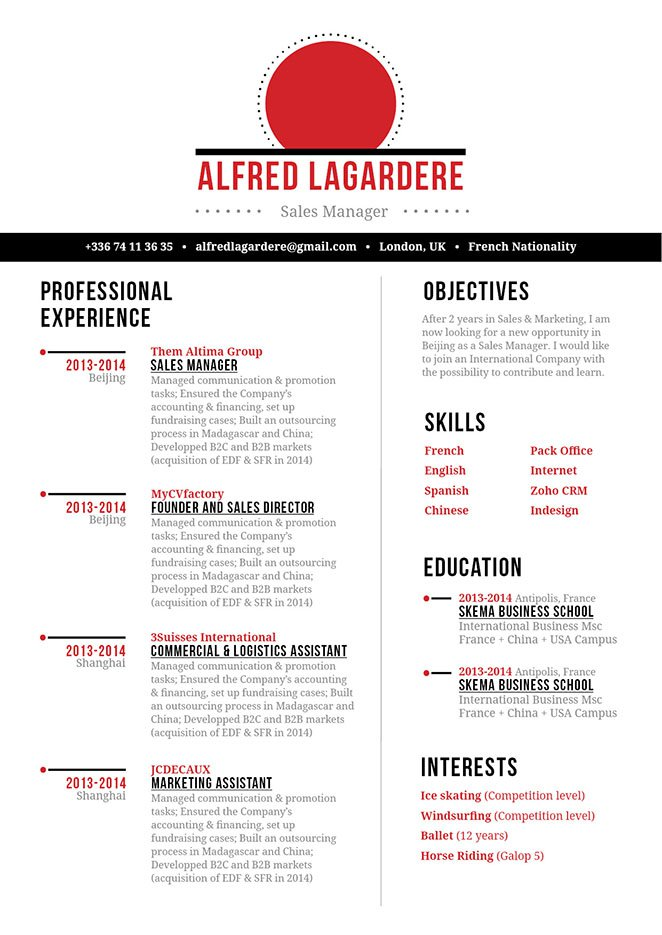 Clean and well-formatted, a great resume to land taht dream job!