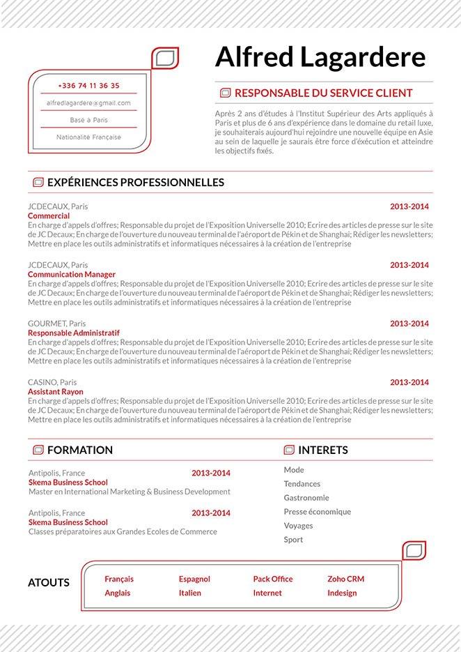 Modèle de cv créatif, un Curriculum Vitae design aux couleurs attrayantes