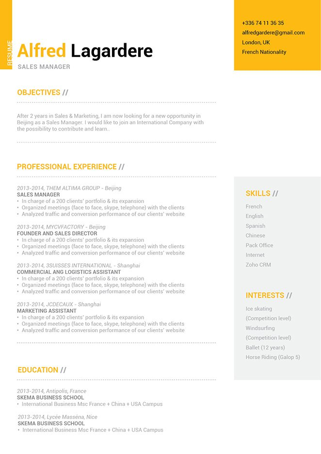 A clean format can be found in this simple resume format, which lends greatly to its functionality.