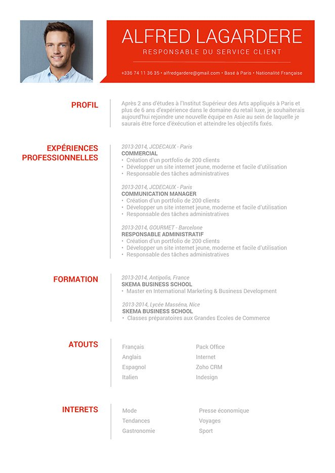Exemple de cv design, un Curriculum Vitae simple haut en couleurs