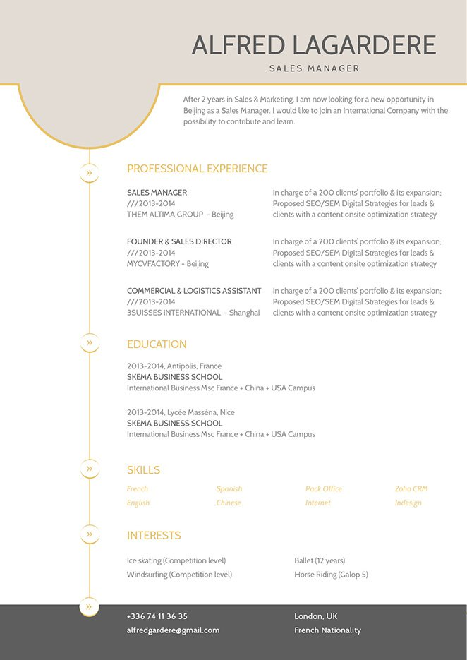 A CV format that is clean and effective.